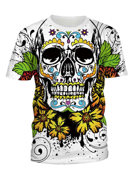 Milanoo Men\s T-shirts 3D Printed SKull Quick Dry Crew Neck Short Sleeves Top In White