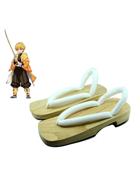 Milanoo Demon Slayer Kimetsu No Yaiba Agatsuma Zenitsu Clogs And Socks Anime Cosplay Accessories