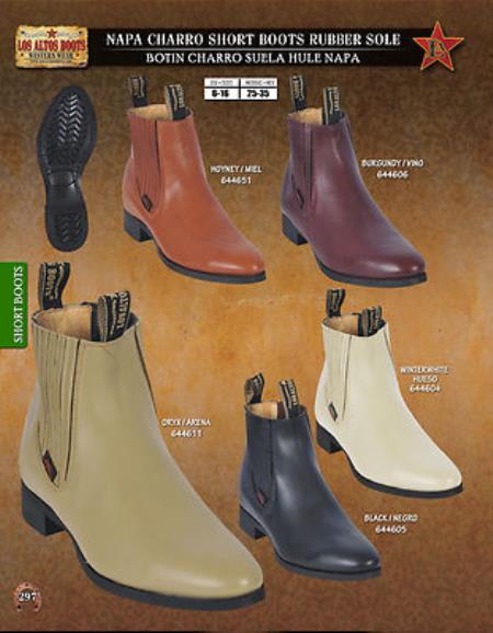 Los Altos Mens Napa Charro Short Boots Rubber Sole Diff. Colors/Sizes