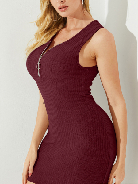 YOINS Zip Front Knit V-neck Sleeveless Bodycon Mini Dress