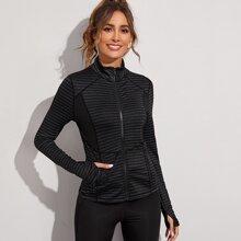 Sports Jacke mit Streifen und Reissverschluss
