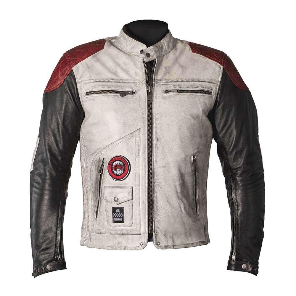 Helstons Tracker Rag Leather White Black Red Motorcycle Jacket S