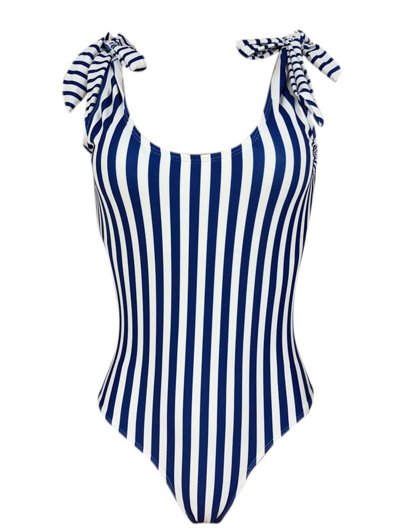 Ericdress Lace-Up Bowknot Stripe Monokini