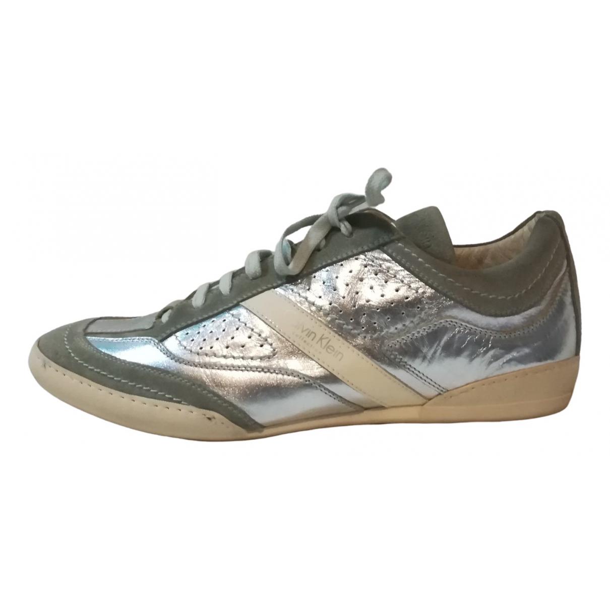 Calvin Klein Collection \N Sneakers in  Silber Leder