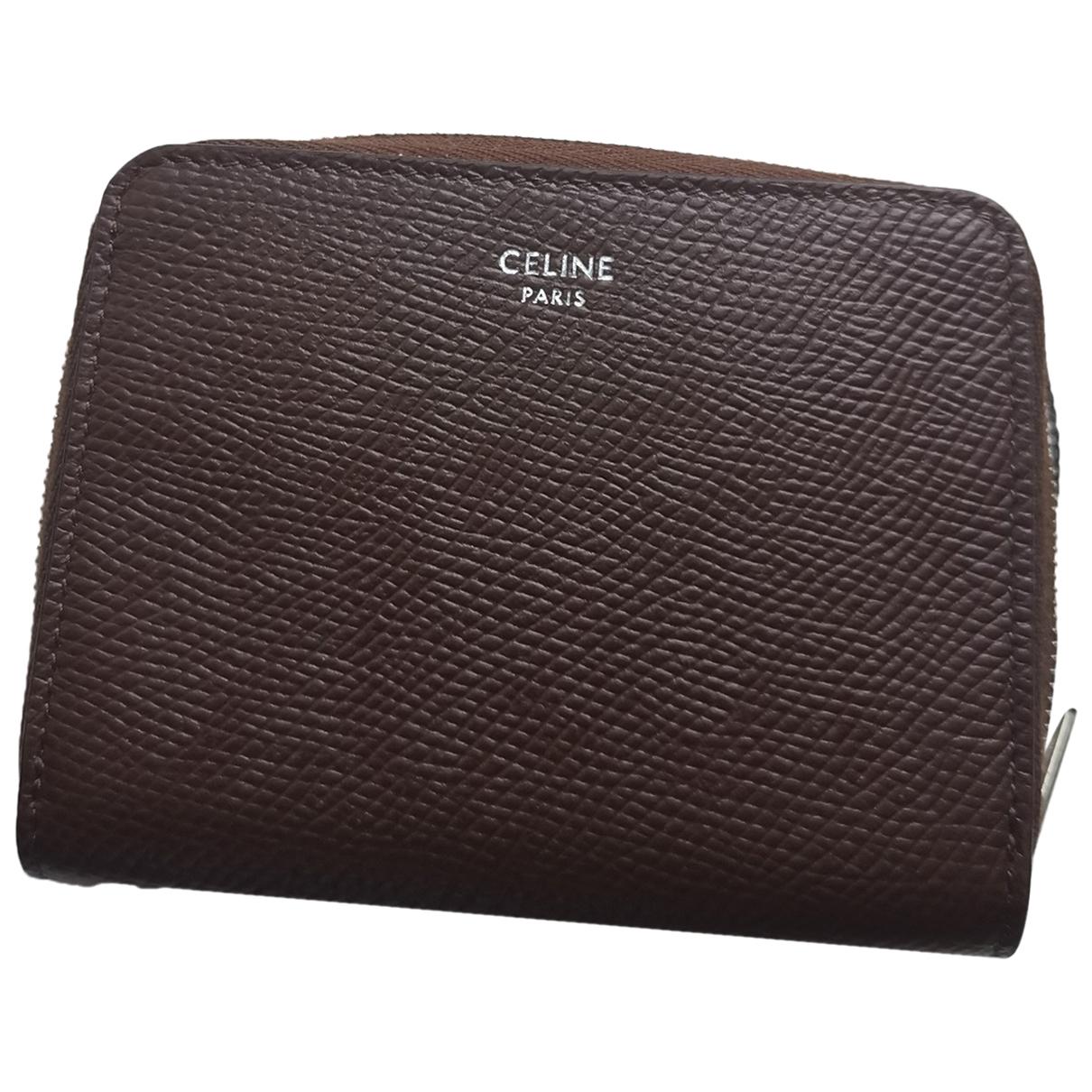 Celine \N Brown Leather Small bag, wallet & cases for Men \N