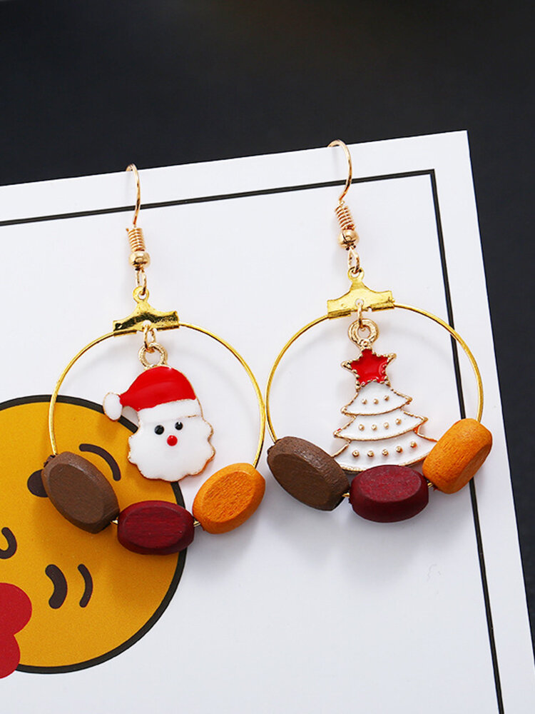 Christmas Women Earrings Asymmetry Christmas Hat Christmas Tree Ear Stud Earrings