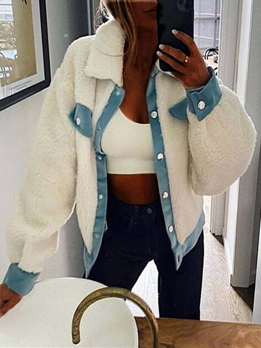 LW Lovely Casual Button Design Patchwork White Faux Fur