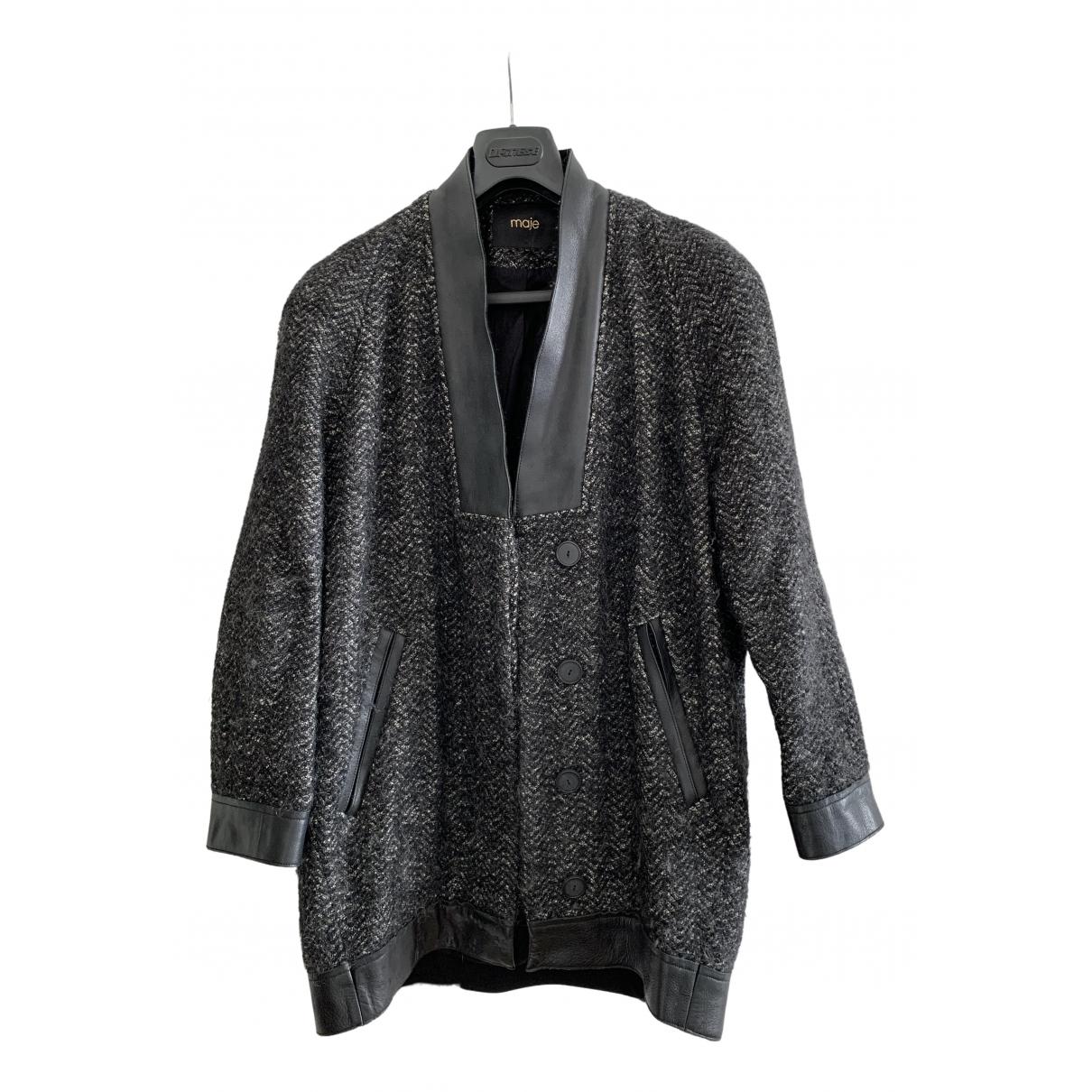Maje - Manteau   pour femme en laine - gris