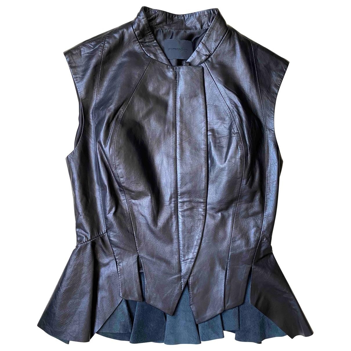 Pinghe - Veste   pour femme en cuir - noir
