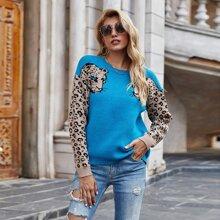 Drop Shoulder Leopard Pattern Sweater