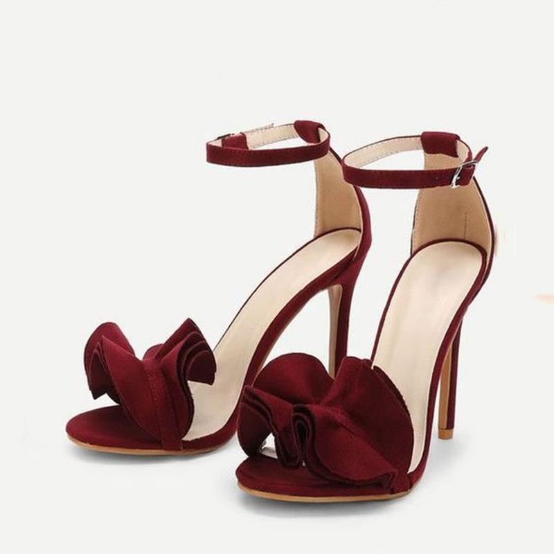 Ericdress Ruffles Plain Open Toe Stiletto Sandals