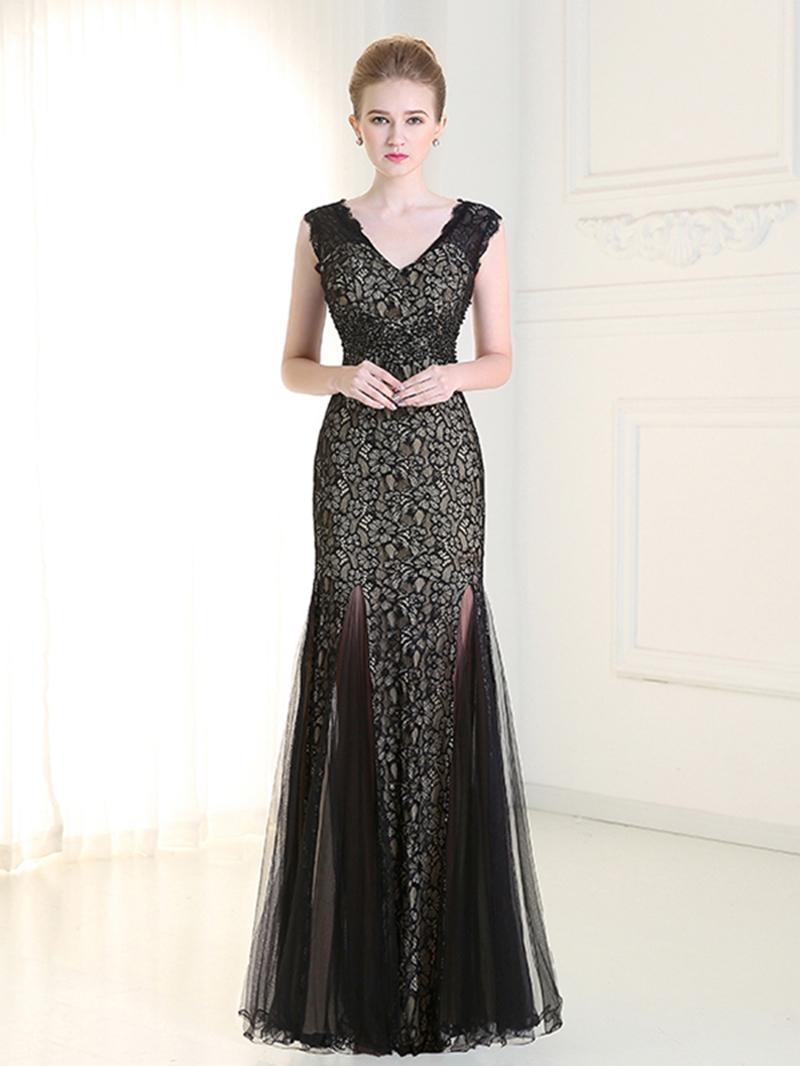 Ericdress Sheath V-Neck Lace Evening Dress