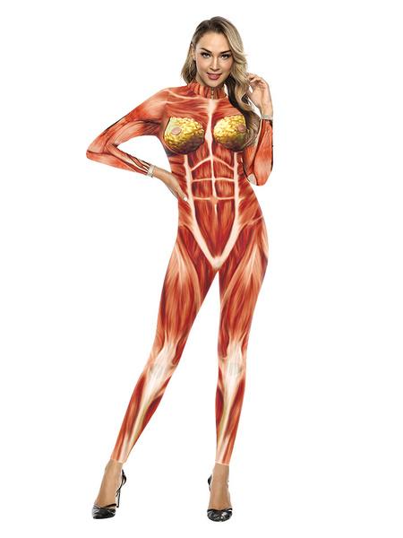 Milanoo Disfraz de Halloween Mono con estampado muscular Ataque en Titan Disfraz de Cosplay de Halloween