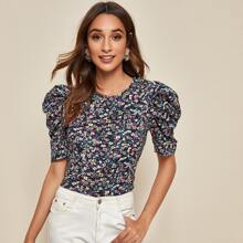 Ditsy Floral Print Puff Sleeve Top