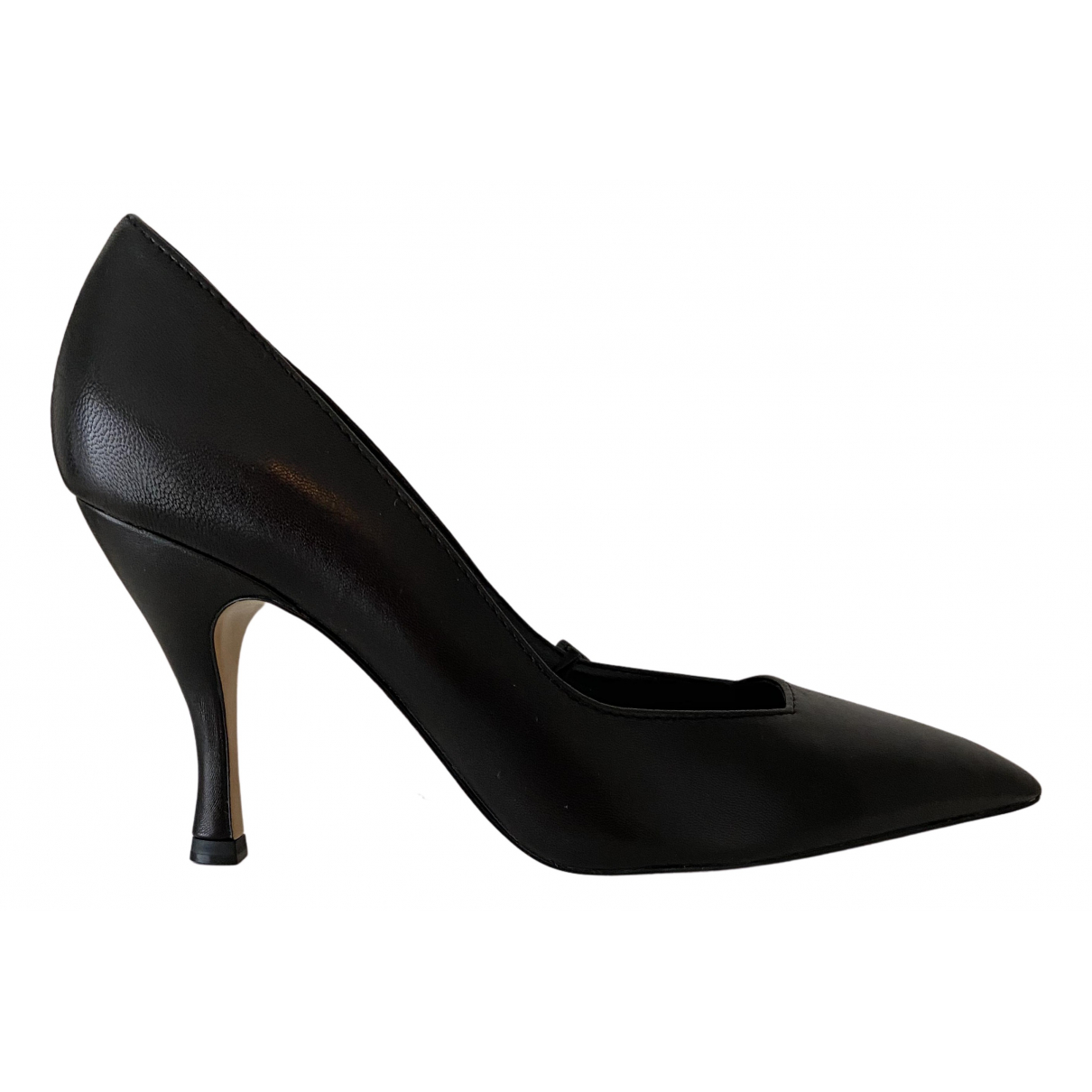 Massimo Dutti N Black Leather Heels for Women 38 EU