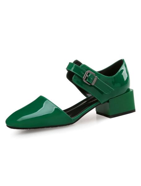 Milanoo Women's Black Pumps Square Toe Patent PU Buckle Detail Mid Heels