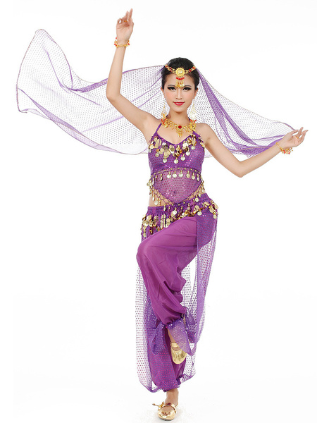 Milanoo Belly Dance Costume Chiffon Women's Red Bollywood Dance Dress With Scarf