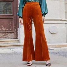 Seam Front Flare Leg Velvet Pants