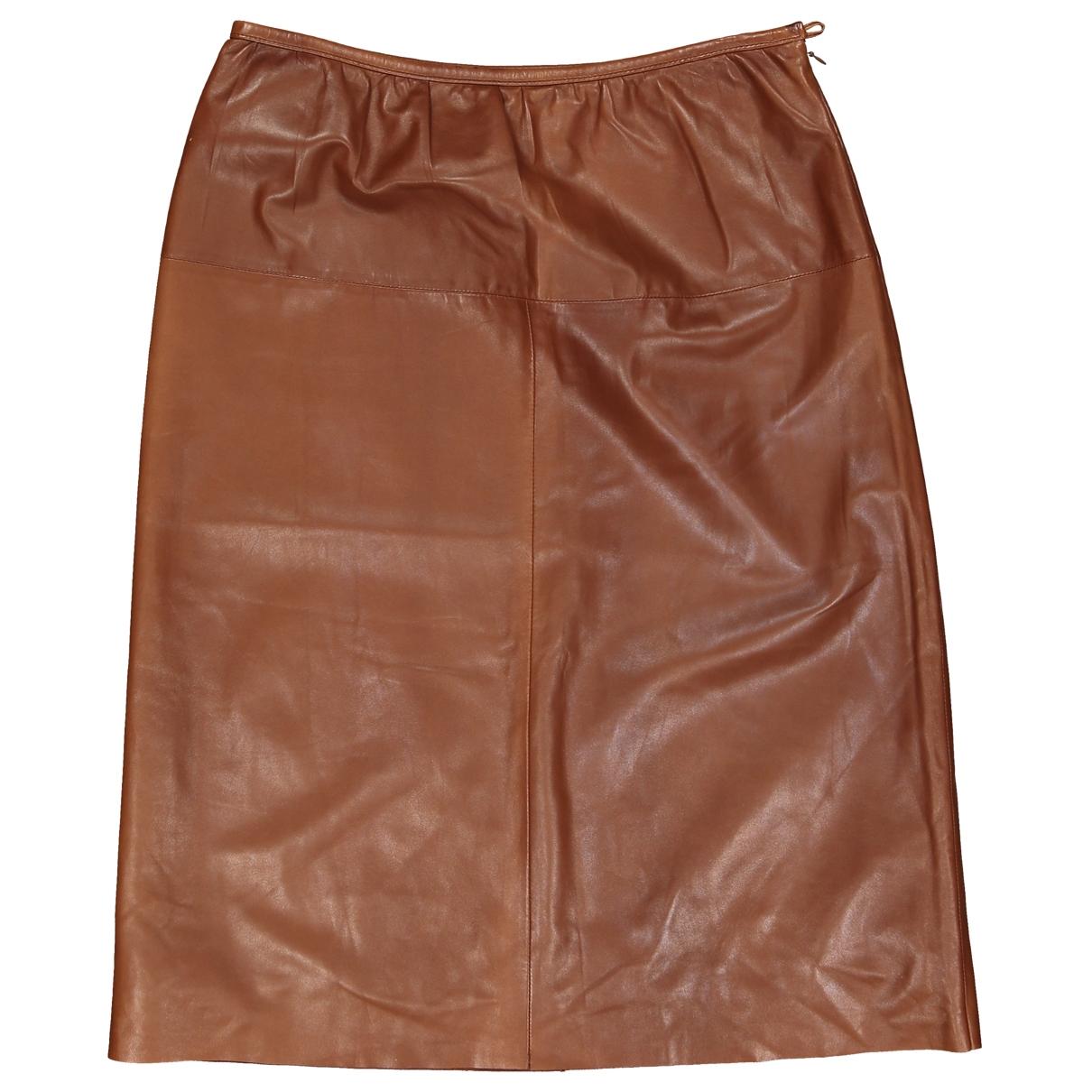 Prada - Jupe   pour femme en cuir - marron