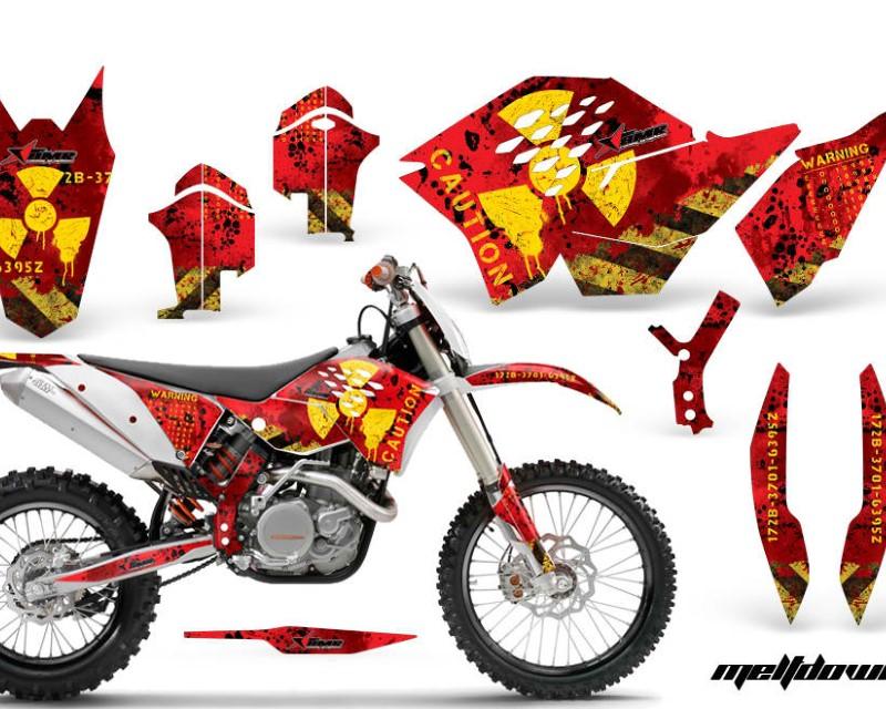 AMR Racing Dirt Bike Graphics Kit Decal Wrap For KTM SX/XCR-W/EXC/XC/XC-W/XCF-W 2007-2011áMELTDOWN RED YELLOW