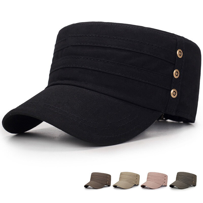 Men Solid Color Vogue Cotton Flat Cap Sunshade Casual Outdoors Adjustable Hat