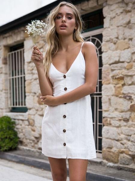 Milanoo Vestido de Mujer 2020 Minifalda de Mujer Tirantes de botones Frontales sin respaldo Falda de Verano