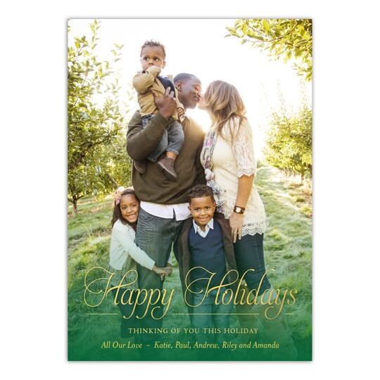 20 Pack of Gartner Studios® Personalized Elegant Script Holiday Photo Card in Forest   5
