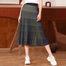 High Waist Longline Knit Skirt