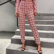 Double Crazy pantalones de cuadros con cremallera trasera