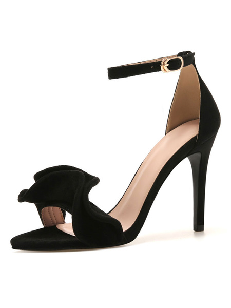 Milanoo Heel Sandals Burgendy Stiletto Heel Open Toe Suede Nap Ankle Strap Ruched High Heel Shoes