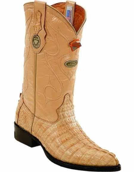 Men's Caiman Tail J Toe Style Sand Handmade Boots Leather Lining