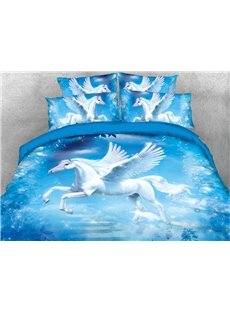 A White Unicorn With Wings In The Blue Sky 3D Printed 4-Piece Polyester Bedding Sets/Duvet Covers