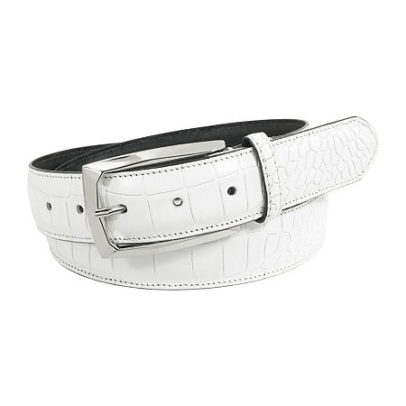 Stacy Adams Ozzie Croc Embossed Leather Belt, 48 , White
