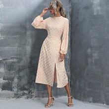 Mock Neck Gold Dot Split Thigh Dress