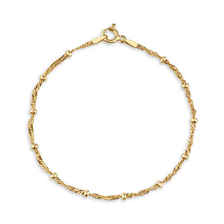 Made in Italy 14K Gold Over Silver 7.5 Inch Solid Singapore Chain Bracelet, One Size , No Color Family