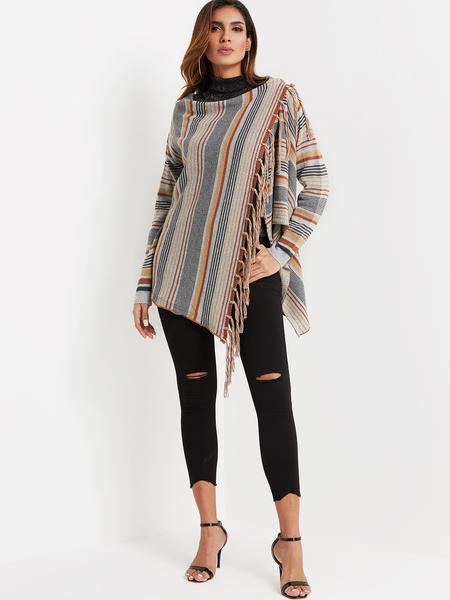 Yoins Grey Tassel Trim Stripe Pattern Drape Sagging Cape Coat
