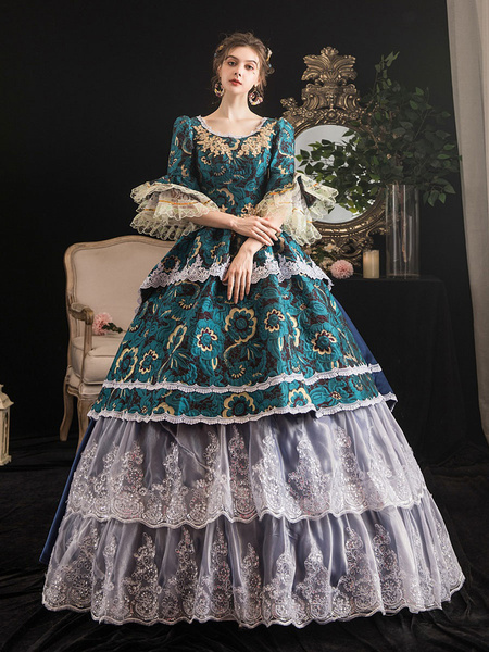 Milanoo Victorian Dress Costumes Womens Rococo Retro Costumes Womens Lace Ruffle Jacquard Marie Antoinette Costume Masquerade Ball Gown