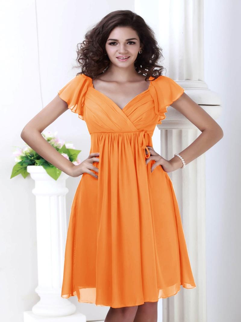 Ericdress Cap Sleeve Knee-Length Beach Bridesmaid Dress