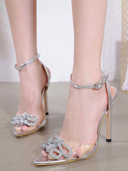 Milanoo Women Sexy High Heels Silver Pointed Toe Rhinestones Sexy Shoes