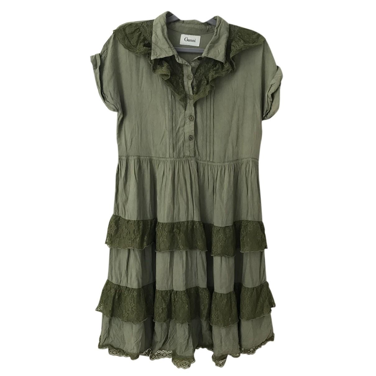Ganni \N Kleid in  Khaki Baumwolle