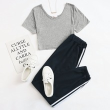 Solid Tee & Striped Side Sweatpants