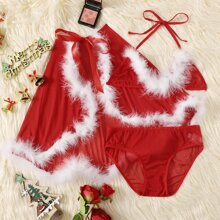 3pack Contrast Faux Fur Christmas Costume