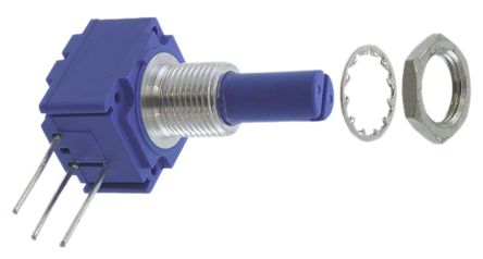 Bourns 1 Gang Rotary Cermet Potentiometer with an 6.35 mm Dia. Shaft - 5kΩ, ±10%, 2W Power Rating, Linear, Panel Mount