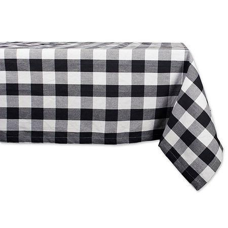 Design Imports Buffalo Check Tablecloth, One Size , Black