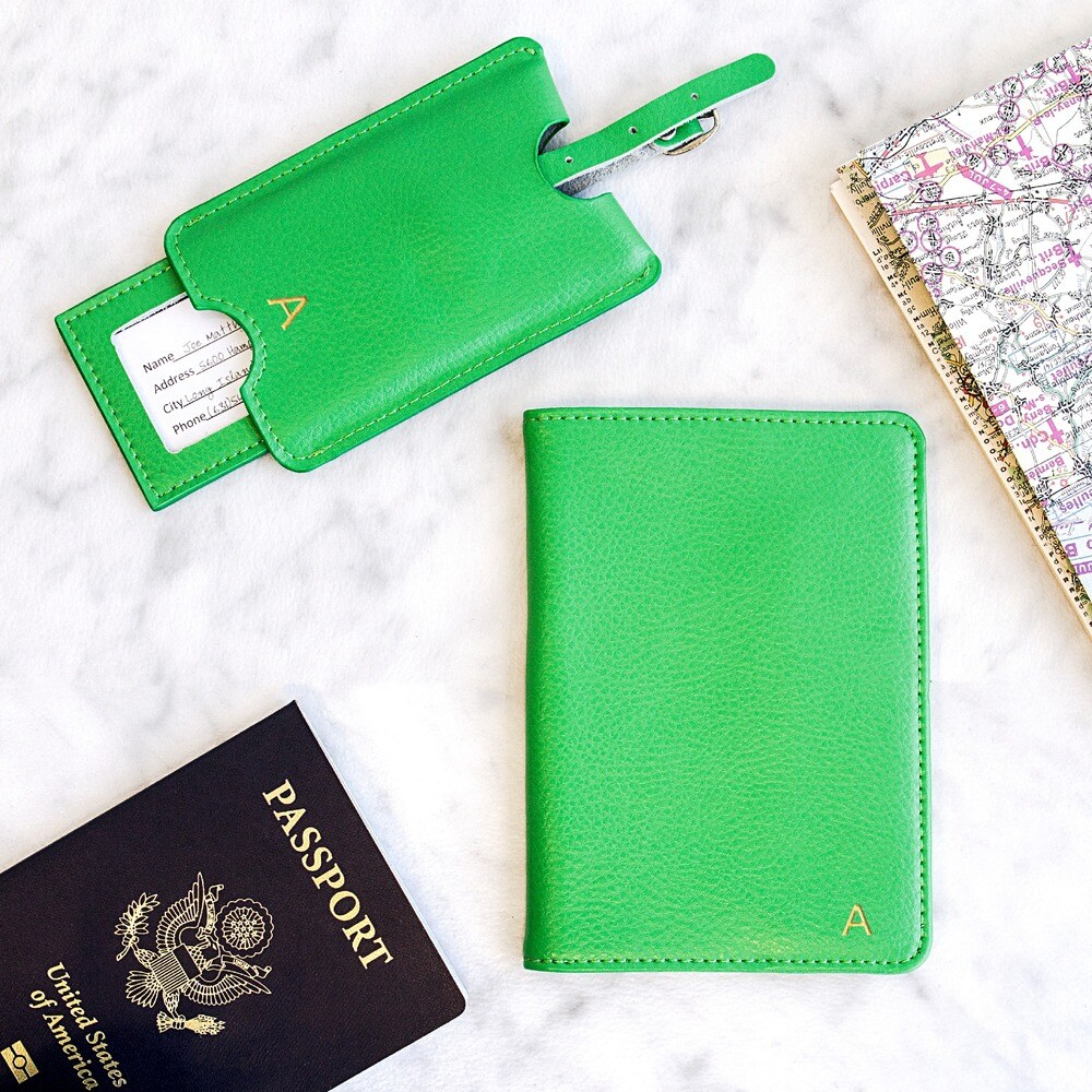 Personalized Green Leather Passport Holder & Luggage Tag Set (G)