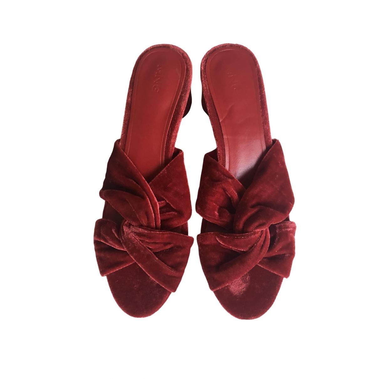 Mango \N Burgundy Velvet Heels for Women 37 EU