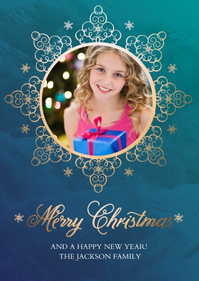 Christmas Photo Cards 5x7 Cards, Premium Cardstock 120lb with Rounded Corners, Card & Stationery -Golden Snowflake
