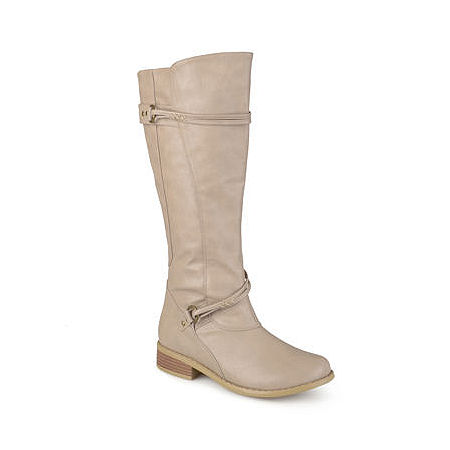 Journee Collection Womens Harley Wide Calf Riding Boots, 7 Medium, Beige