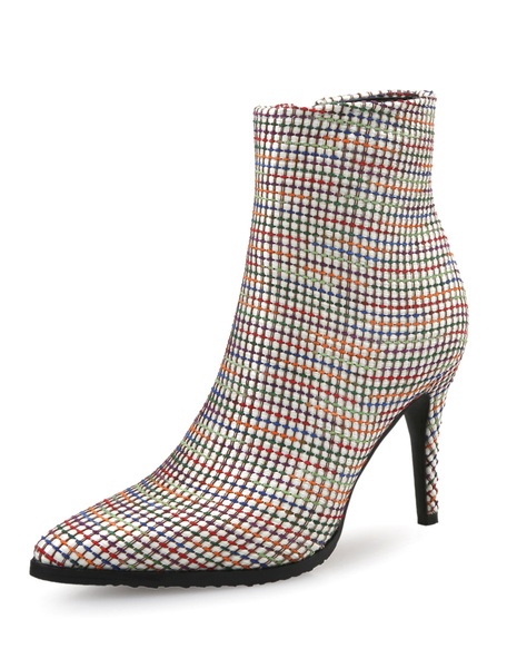 Milanoo Black Women's Booties Pointed Toe High Heel Stiletto Plaid Winter Shoes