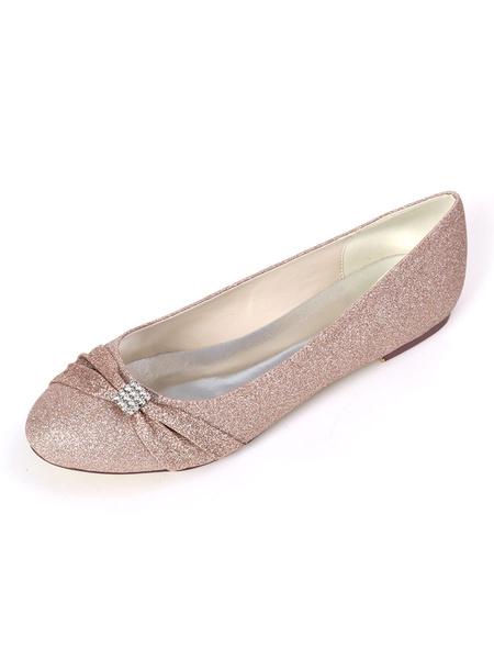 Milanoo Wedding Shoes Sequined White Round Toe Rhinestones Flat Shoes